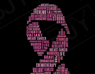 BREAST CANCER RIBBON AWARENESS TYPOGRAPHY
