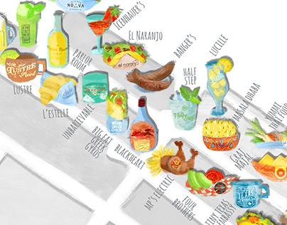 Austin - Rainey Street Map Illustrations