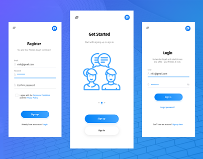 Chat App Concept Login & Sign Up Screen Design