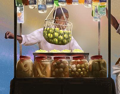 Food Cart   Digital Painting   Light Study