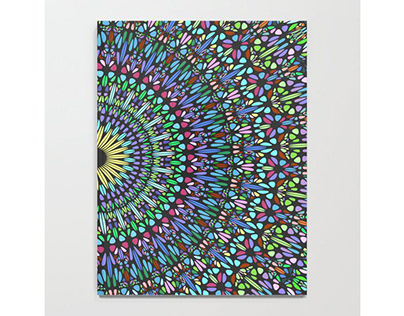 Colorful Floral Gravel Garden Mandala Notebook