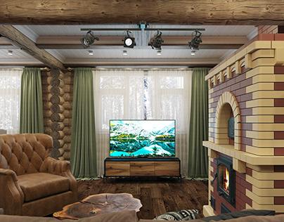 Log house interior design project