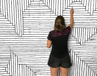 Geometric Landscape Mural