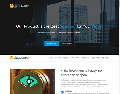 Landing Page Room Service Display