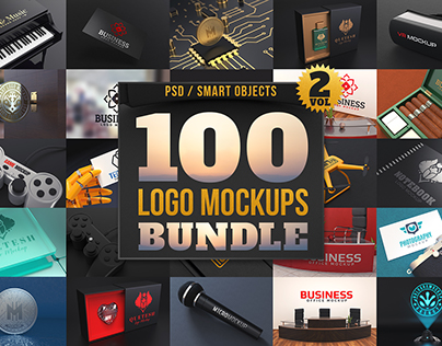 100 Premium Logo Mockups Bundle Vol.2