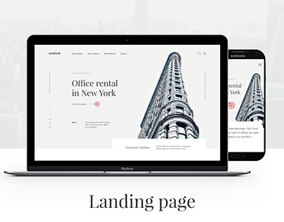 Landing page for office rental company