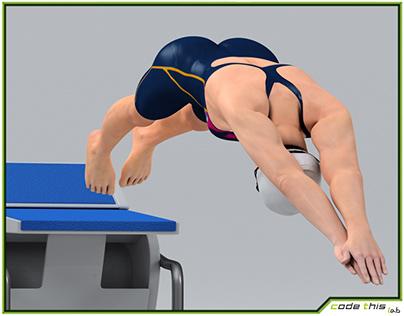 3D Model: Female Swimmer Animated HQ 001