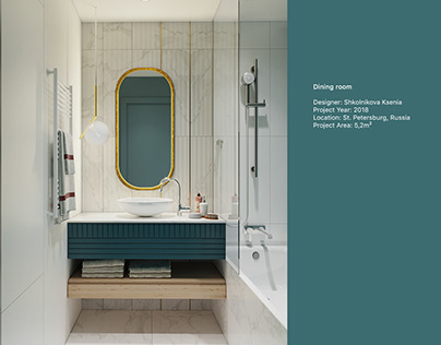 Design of a bathroom and a toilet room in blue