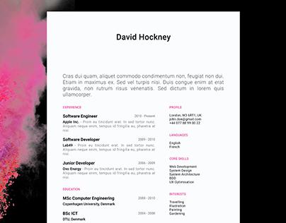 David Hockney - FREE resume/CV template | AI
