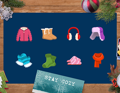 Winter theme flat icons
