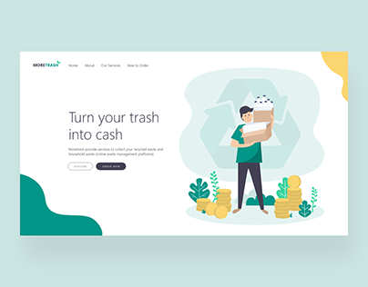 MoreTrash Waste Management Platform Landing Page Header