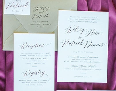 Black White Gold Floral Wedding Invitations & Day Of