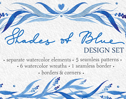 Shades of Blue - watercolor design set