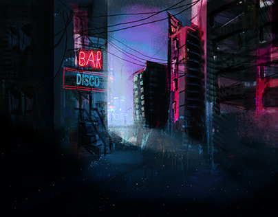 Concept art - city in the night