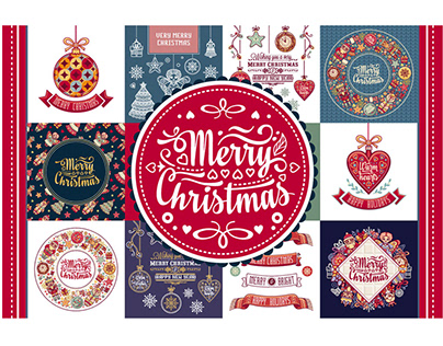 Christmas template. Big bundle. 30 greeting card. Chris