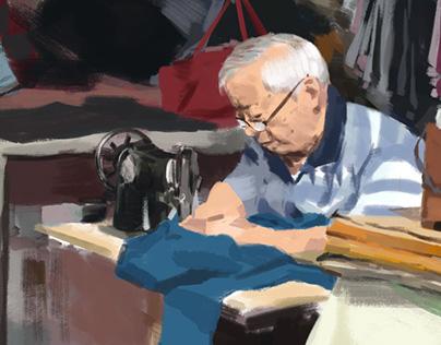 Old weaver from Xiangshun Li, Shuangchang Rd. Shanghai