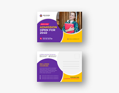 School Admission directmail or eddm Postcard design