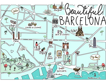 Barcelona Illustrated Map