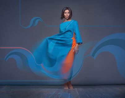 """Squareroot5 Poster Cyan Dress """"Water"""""""