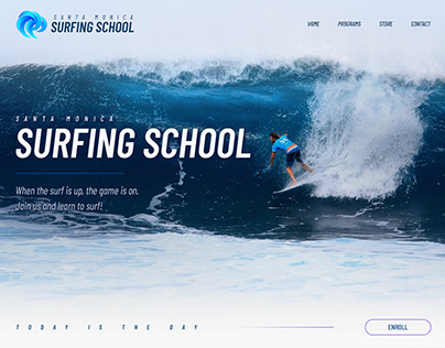 Web design landing page for a surfing school