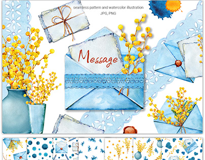 Envelope, letter, message. Mimosa flowers. Watercolor.