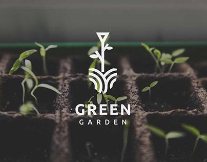 green garden agriculture logo template vector
