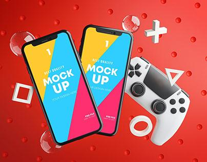 Smartphone Gaming Mockup Gamepad Pack