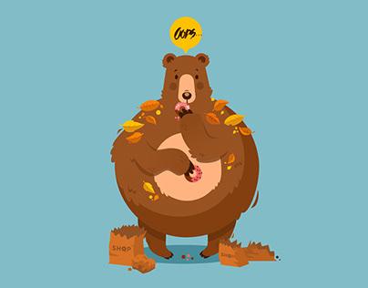 Donut Bear T-shirt design illustration