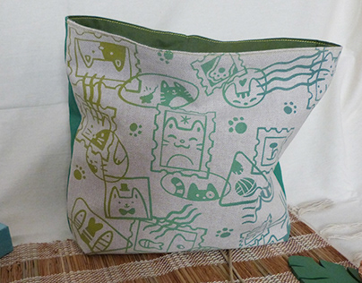 Cats Stamps - pattern and handmade pouches