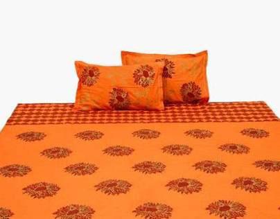 Block printed bed linen