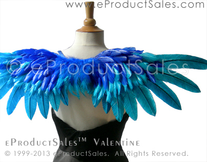 eProductSales blue VALENTINE Feather Angel Wings