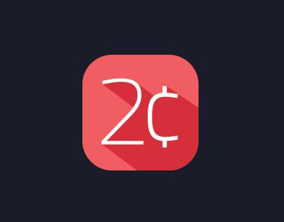 2 Cents flat app icon & logo design