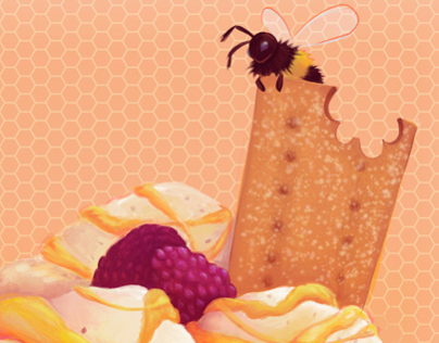 Food Illustration: Honey & Blackberry Ice Cream