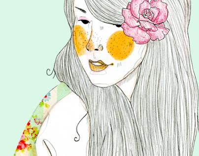 Vintage Floral Girl