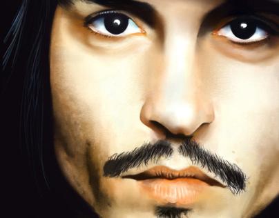 Digital painting of Johnny depp
