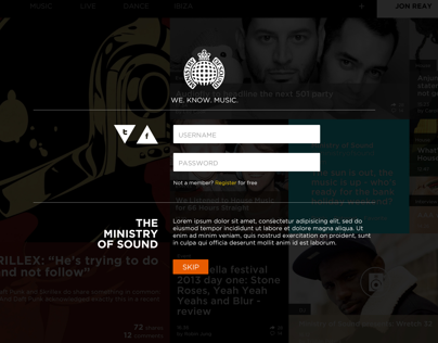 Ministry Of Sound Website Concept 2
