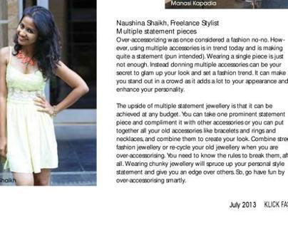 My Style Check in Klick Fashion Magazine 0n Accessories