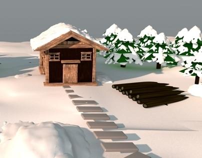 snow village house