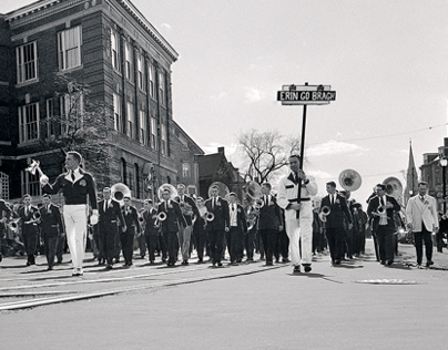 Harvard Band marching in the Saint Patrick's Day Parade