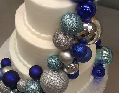 Blue Christmas Wedding Cake
