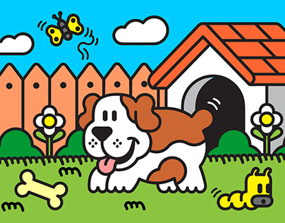 The dog in the garden