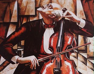 Living ART. The portret of the Mstislav Rostropovich.