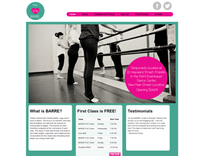 live.love.BARRE. Responsive Website