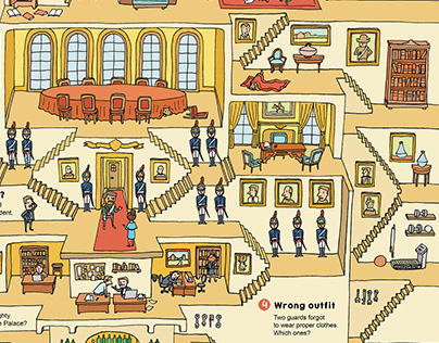 Labyrinth in Elysee Palace - editorial illustration