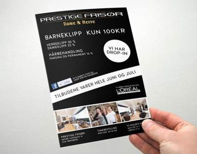 Flyer for Prestige Frisør (Hair-salon)