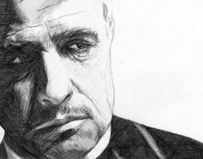 Don Corleone Pen Drawing