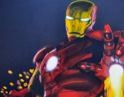 Iron Man (Tecnica Mixta/ Acuarela, Acrílico, Pastel).