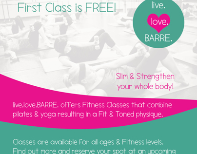 live.love.BARRE. Business Cards and Flyer