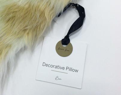 selected decorative pillow hang tags