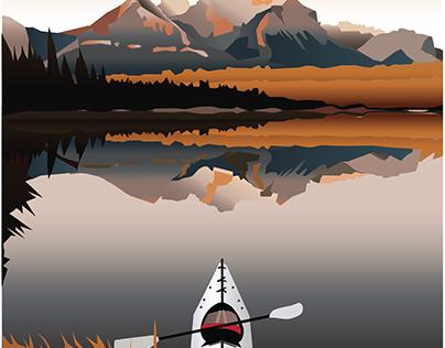 Kayaking in the Mountains Illustration